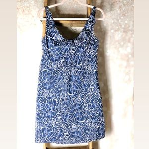 Ann Taylor Blue & White Floral Tank Dress